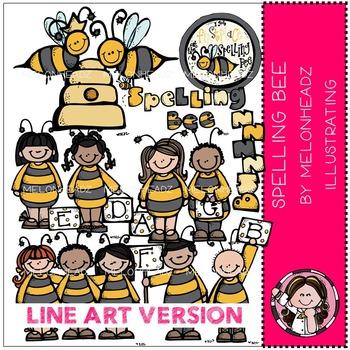 Spelling Bee by Melonheadz LINE ART