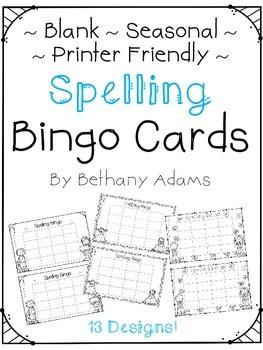 Spelling Bingo - Blank - Printer Friendly - Seasonal - Pri