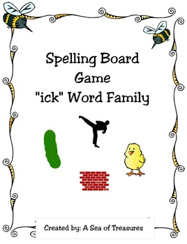 """Spelling Board Game: """"ick"""" Word Family"""