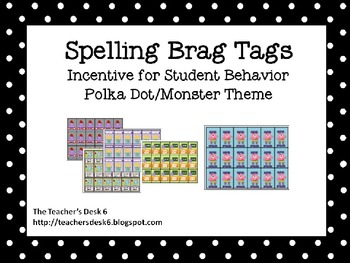 Spelling Brag Tags Polka Dot Monster Theme