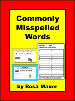 Spelling Packet Commonly Misspelled Words