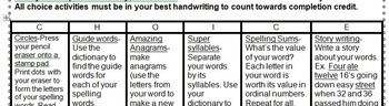 Spelling Choice Activity Page