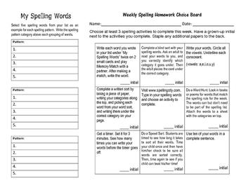 Spelling Choice Board for Homework