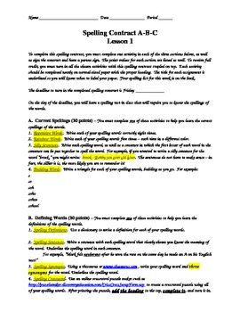 Spelling Contract Version 1