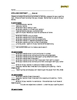 Spelling Contract - updated