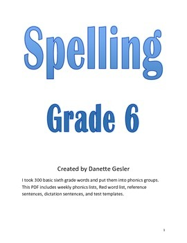 Spelling Curriculum for Sixth Grade (aligned with Common Core)
