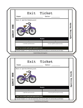 Spelling Exit Tickets First Grade