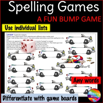 Spelling Activity BUMP GAME uses individual lists, any wor