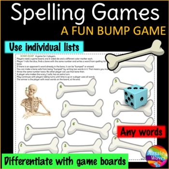 Spelling Game BUMP GAME Center Activity Uses individual li