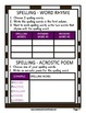 Spelling - Grade 6 (6th Grade) Weekly Spelling Activities