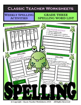 Spelling - Grade 3 (3rd Grade) - Weekly Spelling Activitie