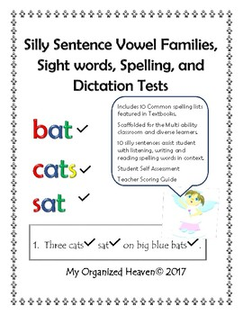 Spelling, Sight Word, Silly Sentence, and Dictation Tests