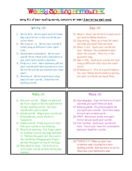 Spelling Homework Activities for Multiple Learning Styles
