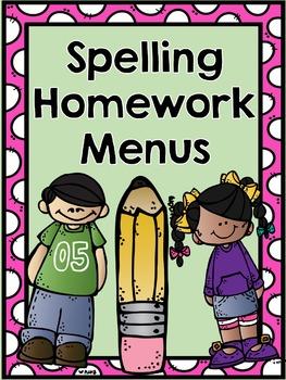 Spelling Homework Menus