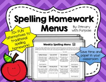 Spelling Homework Menu Choices - FUN Spelling Practice!
