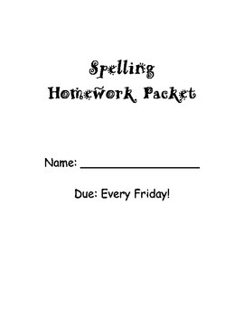 Spelling Homework Packet - 10 words