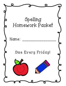 Spelling Homework Packet   CCSS.ELA-LITERACY.L.2.1  CCSS.E