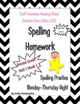 Reading Street 2013 Second Grade Spelling Homework Unit 1