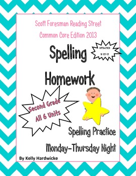 Reading Street 2013 Second Grade Spelling Homework Bundle