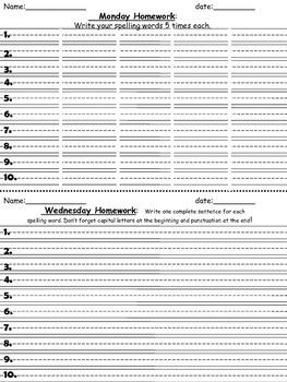 Spelling Homework bilingual