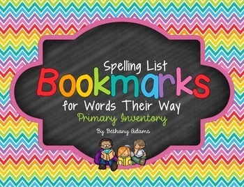 Spelling List **Bookmarks** for Words Their Way ~Primary I
