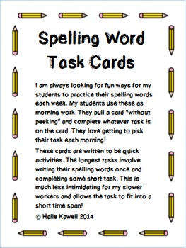Spelling List Task Cards