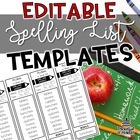 Spelling List Templates   EDITABLE