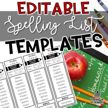 Spelling List Templates | EDITABLE