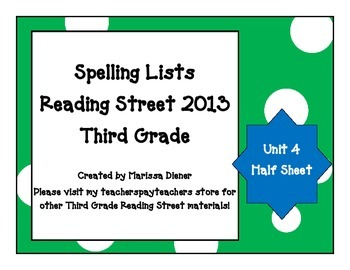 Spelling Lists - Reading Street 2013 - 3rd Grade - Unit 4