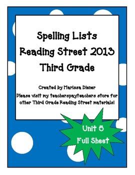 Spelling Lists - Reading Street 2013 - 3rd Grade - Unit 5