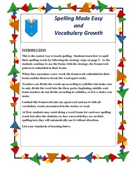 Vocabulary building with spelling