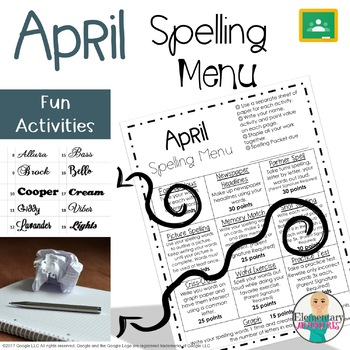 Spelling Menu - April - Homework Activities
