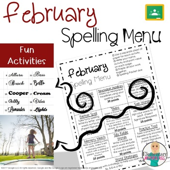 Spelling Menu - February - Homework Activities