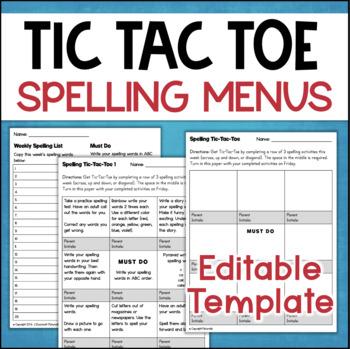 Spelling Menus - Spelling Tic-Tac-Toe