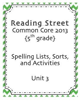 Spelling Pack, Unit 3, 5th Grade Reading Street