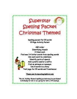 Spelling Packet Christmas Superstars