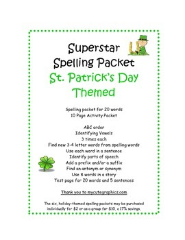 Spelling Packet St. Patrick's Day Superstars