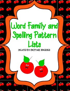 Spelling Patterns Lists: Word Families, Blends, Digraphs,