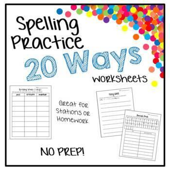 Spelling Practice - 20 Different Worksheets - No Teacher Prep