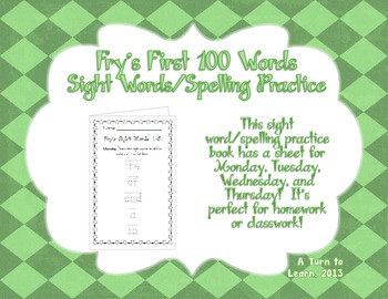 Spelling Practice Book - Fry's First 100 Sight Words (0-100)