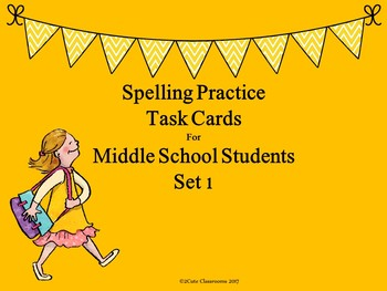 Spelling Practice Task Cards for Middle School Students