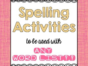 Spelling Printable Activities and Menu for ANY Word List