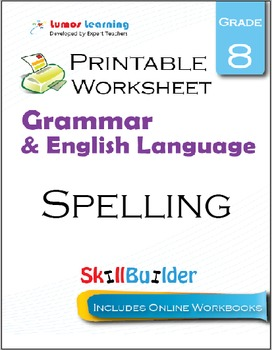 Spelling Printable Worksheet, Grade 8