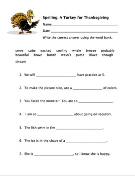 Spelling Review and High Frequency Words - A Turkey for Th