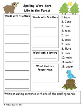 Spelling Sort for Life in the Forest (Scott Foresman Readi