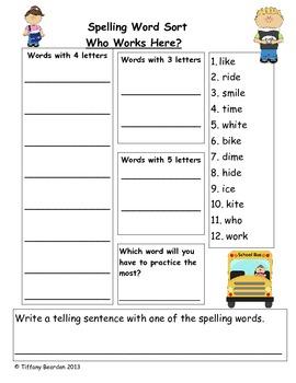 Spelling Sort for Who Works Here? (Scott Foresman Reading Street)