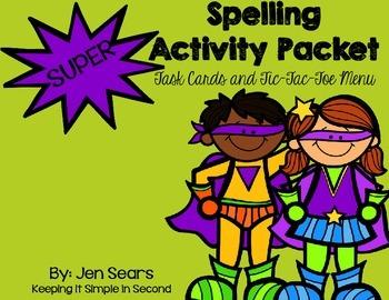Spelling Task Cards and Homework Menu