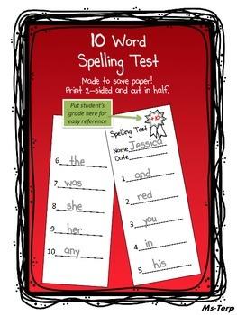 Spelling Test 10 Words
