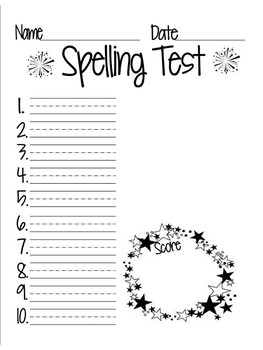Spelling Test Forms