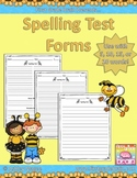 Spelling Test Forms for 5, 10, 15, or 20 words! (Free!)